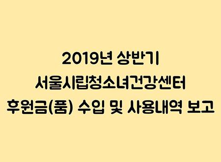 2019년 상반기 서울시립청소녀건강센터 후원금(품) 수입 및 사용내역 보고