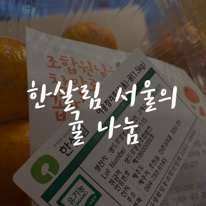 [후원] 한살림 서울의 새콤달달 귤 나눔
