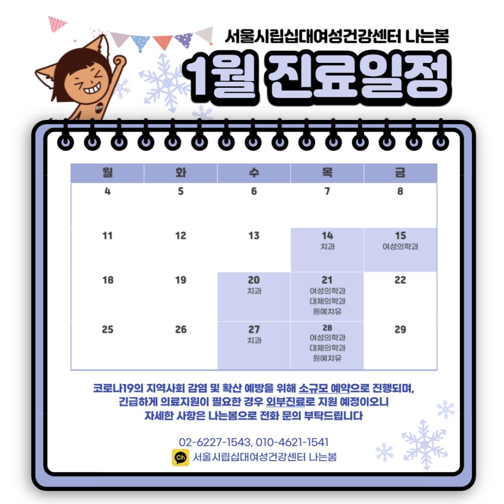 [평일진료] 1월 진료일정